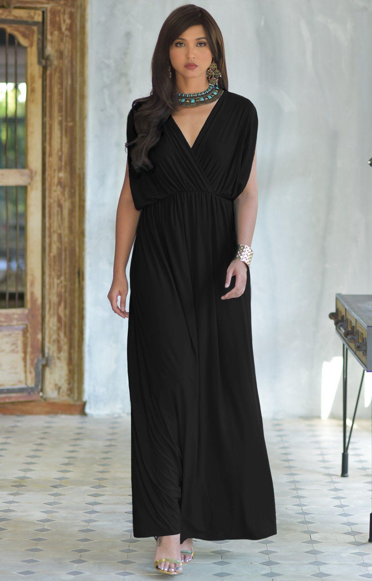 f6e733a5586 KOH KOH Womens Long Sexy Grecian Short Sleeve Summer Empire Bridesmaid  Bridesmaids Wedding Guest Casual Party