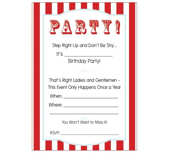 Pumpkin Petunia CARNIVAL \/ CIRCUS PARTY WEEK - FREE PRINTABLE - free birthday template invitations