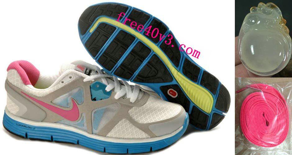 b66227ce1bec8 ... Mens Nike Lunarglide 3 White Blue Pink Shoes  Women ...