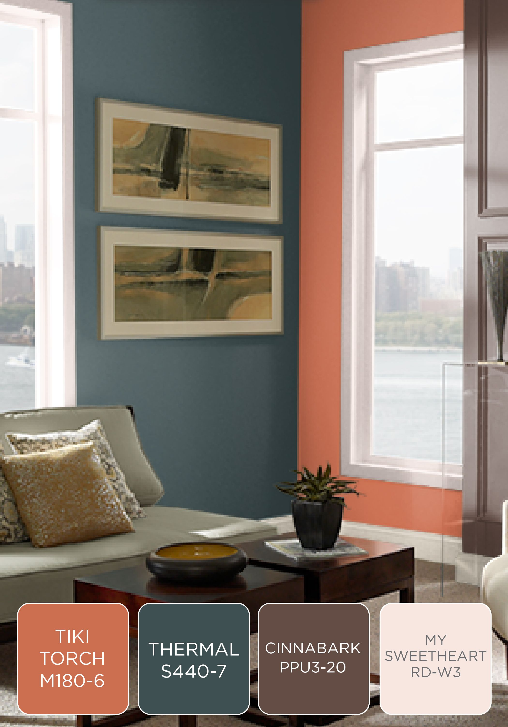 A Coral Blue Brown And White Color Combination In Your Living Room Or