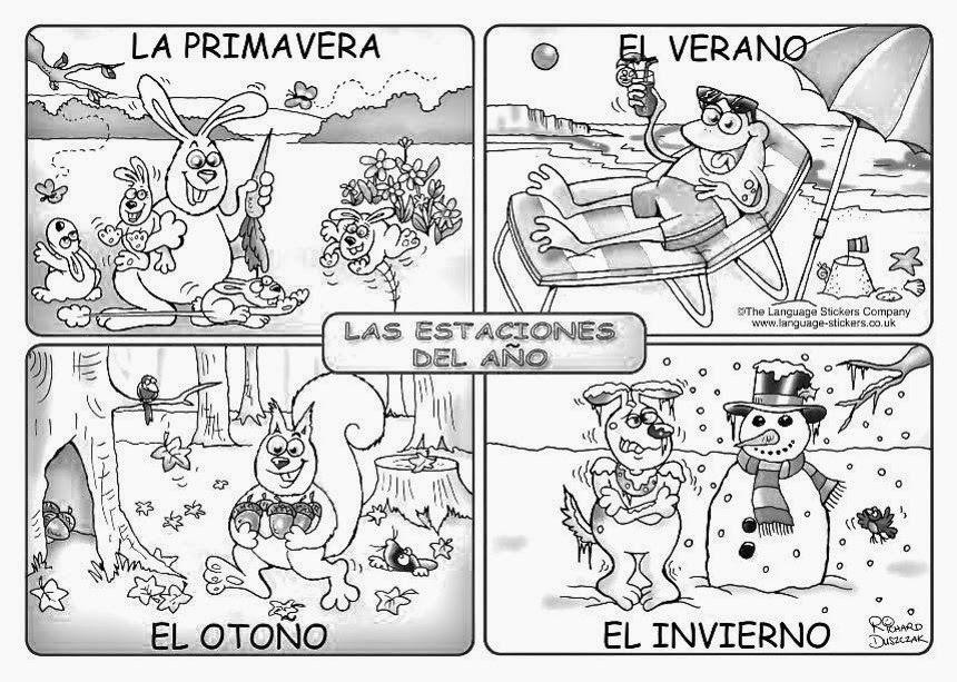 Las Estaciones Del Ano Colorear Spanish Lessons For Kids Spanish Handouts Elementary Spanish