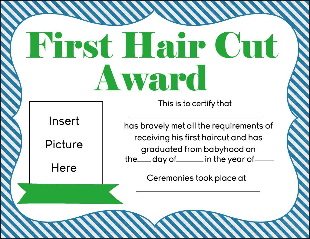 1st haircut certificate