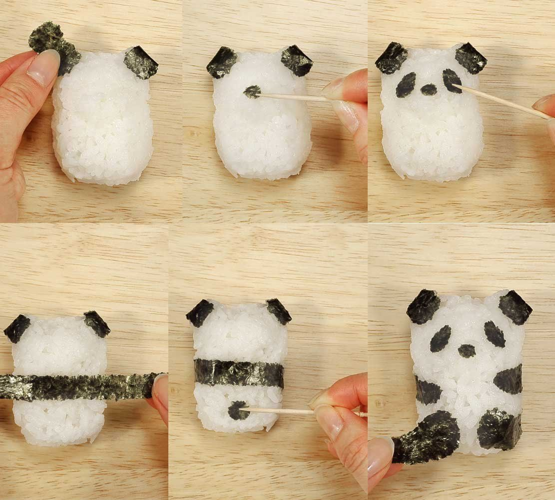 Amazon.com: CuteZCute Fun Rice Mold Onigiri Shaper and Dry Roasted Seaweed Cutter Set, Baby Panda: Kitchen & Dining #babypandas