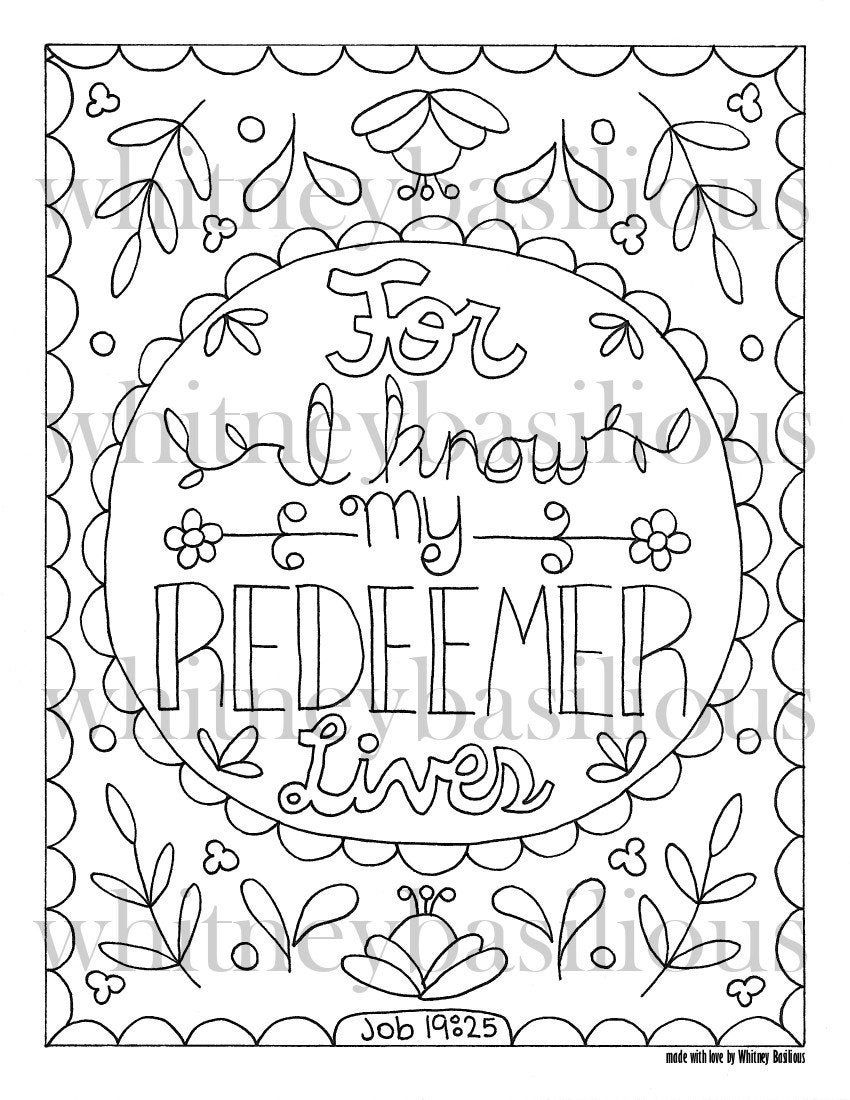 Scripture Printable Coloring Page Job 19 25 Bible Wall Art