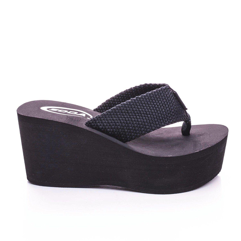 Womens sandals reviews - Soda Womens Sandals Wedge Eva Platform Heels Flip Flops Black White Oxley S