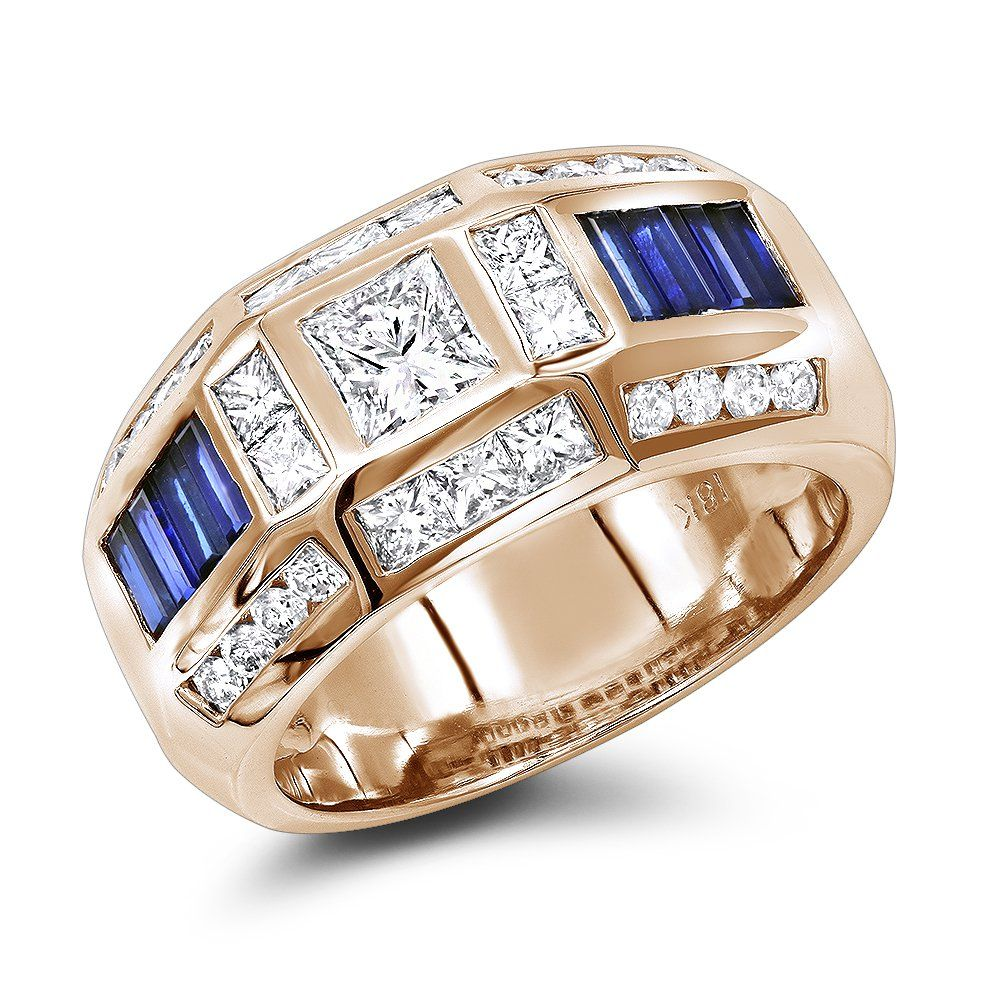 Unique Luxurman Bands 18K Gold Sapphire Diamond Ring for