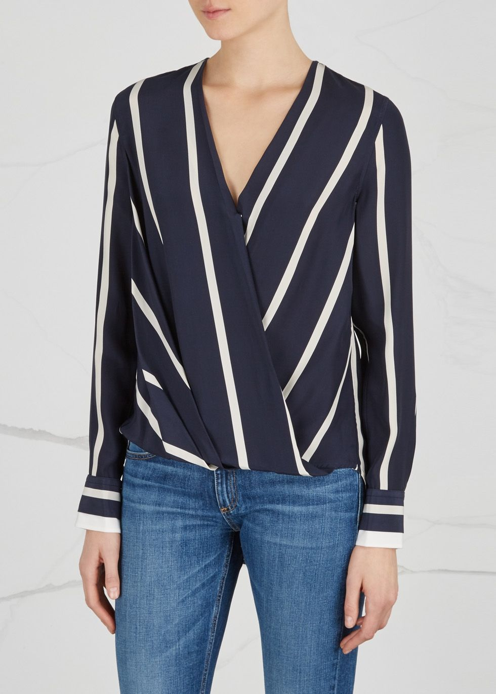 d9e3539346065 rag   bone Victor striped silk blouse - Harvey Nichols