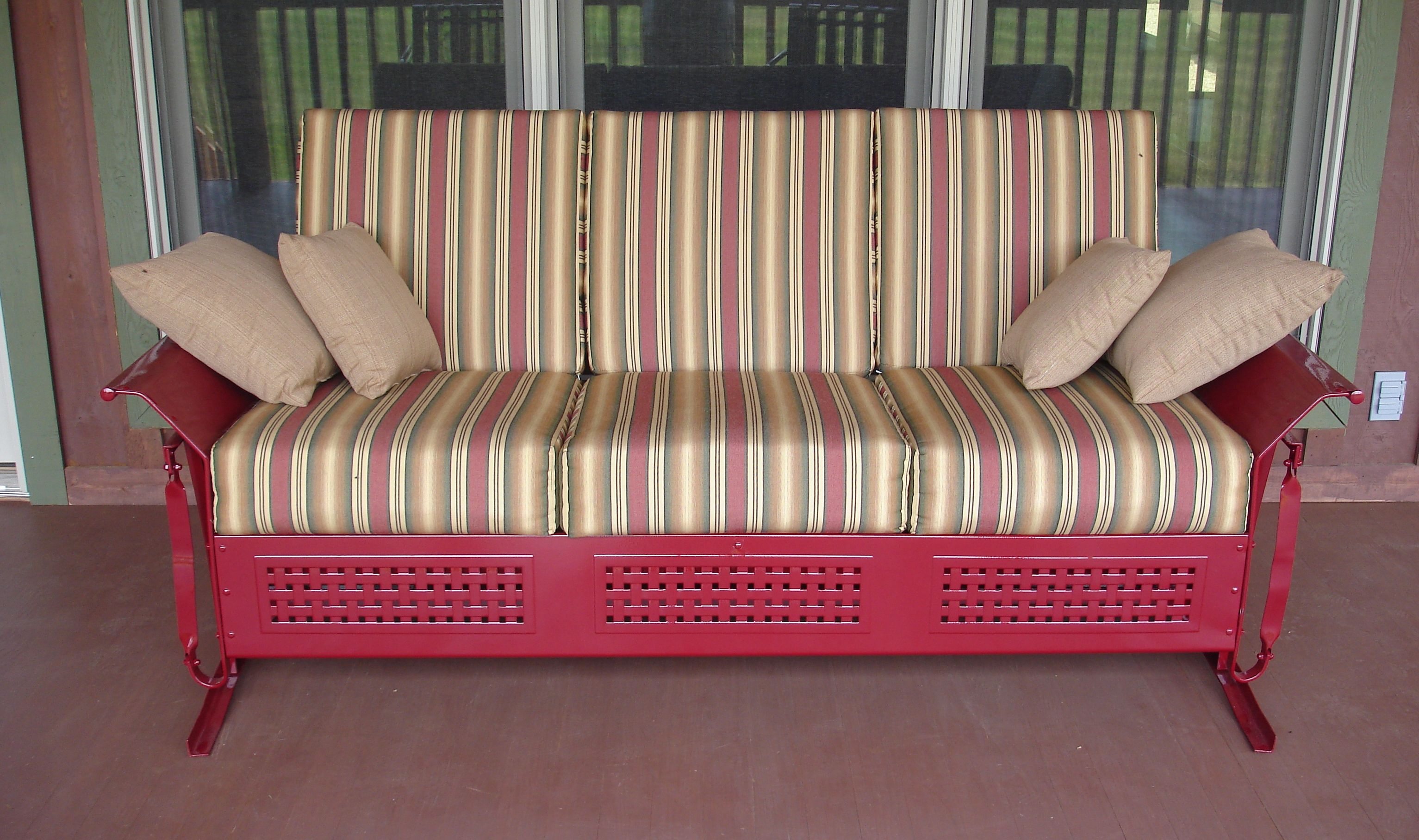 Comfy Old Fashioned Metal Vintage Porch Glider With Custom