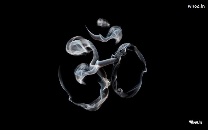 Om Creative By Smoke With Dark Background Hd Wallpaper In
