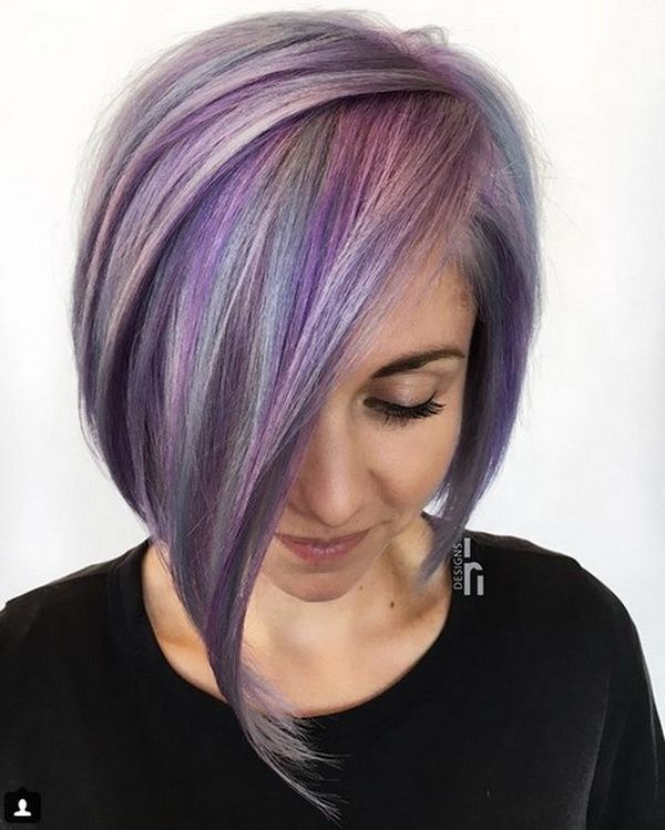 Edgy Violet Asymmetrical Bob Haircuts 2018-2019 with Sleek ...