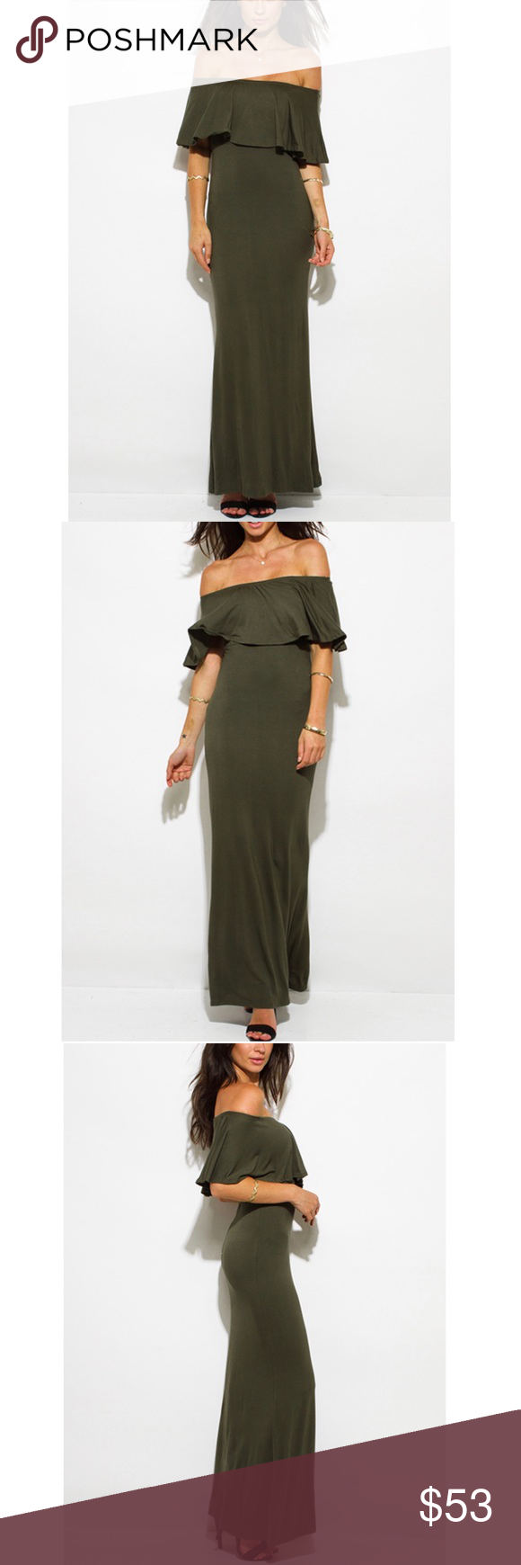 PRE-SALE❤️OLIVE RUFFLE OFF SHOULDER MAXI This elegant and feminine evening dress is trendy yet timeless, featuring sexy off shoulder design with eye catching ruffle and sultry silhouette. Medium weight stretchy rayon jersey looks & feels luxurious and perfect for both formal events and cocktail parties alike. Stretchy. 95% rayon, 5% spandex. Comes in S M L. Waunda's Closet Dresses Maxi