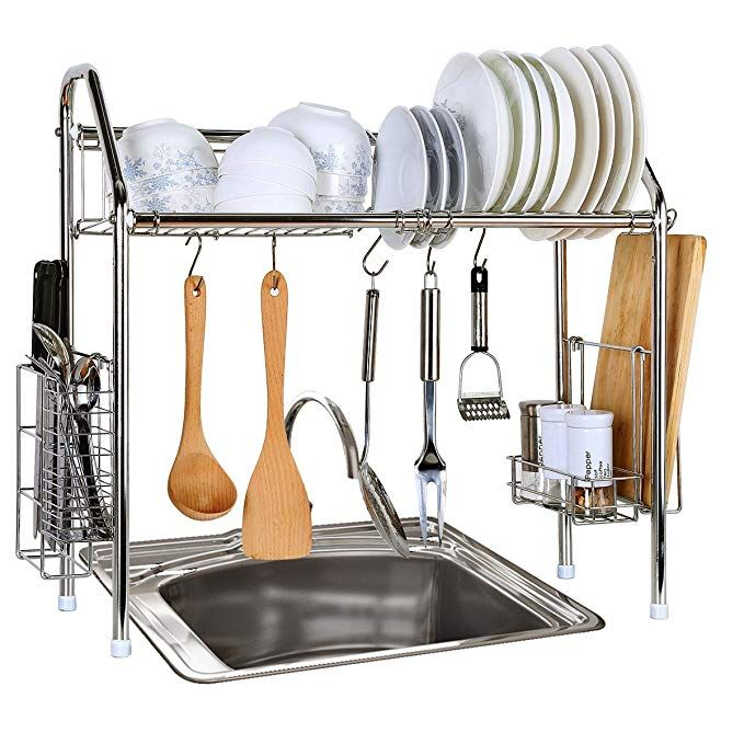 321f5455228c 1208S Stainless Steel Over Sink Drying Rack Dish Drainer Rack&Kitchen  Organizer (Single Groove-Single-layer)