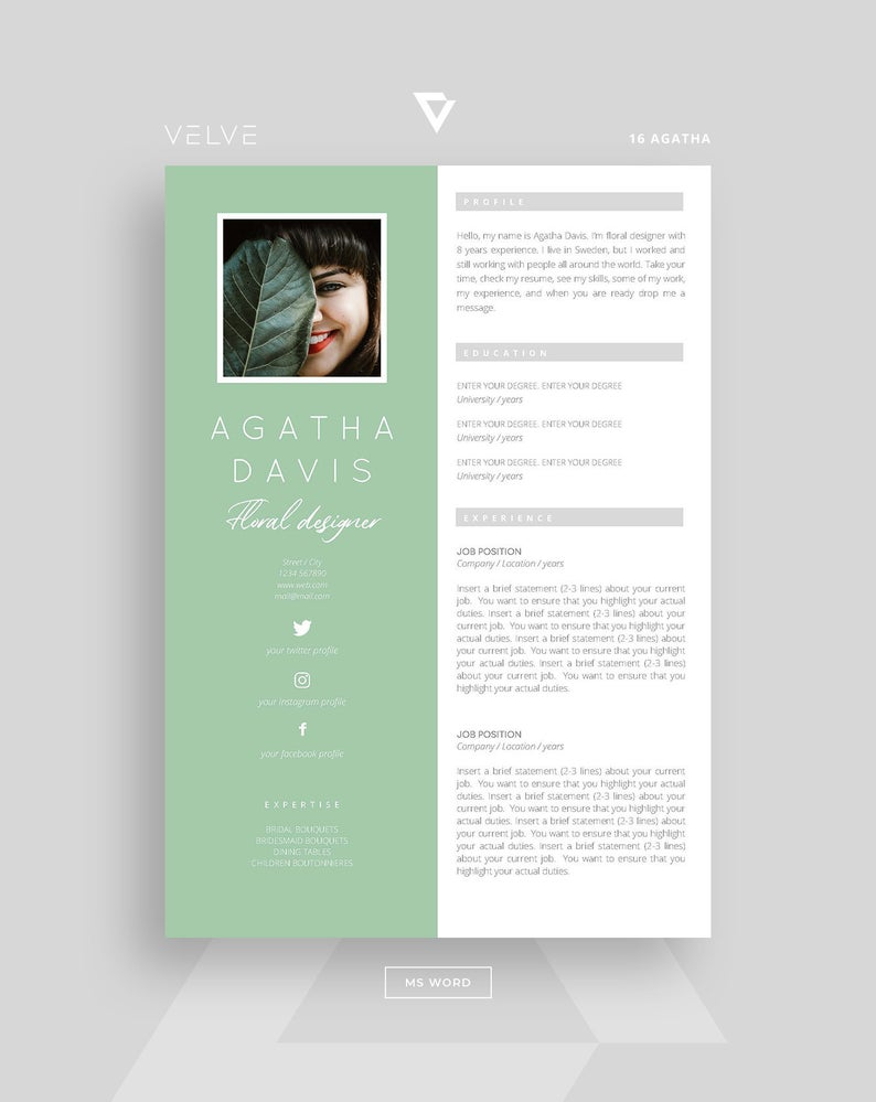 Resume Cv 3 Page Template Cover Letter Instant Download Etsy Modern Resume Design Cv Template Cv Resume Template