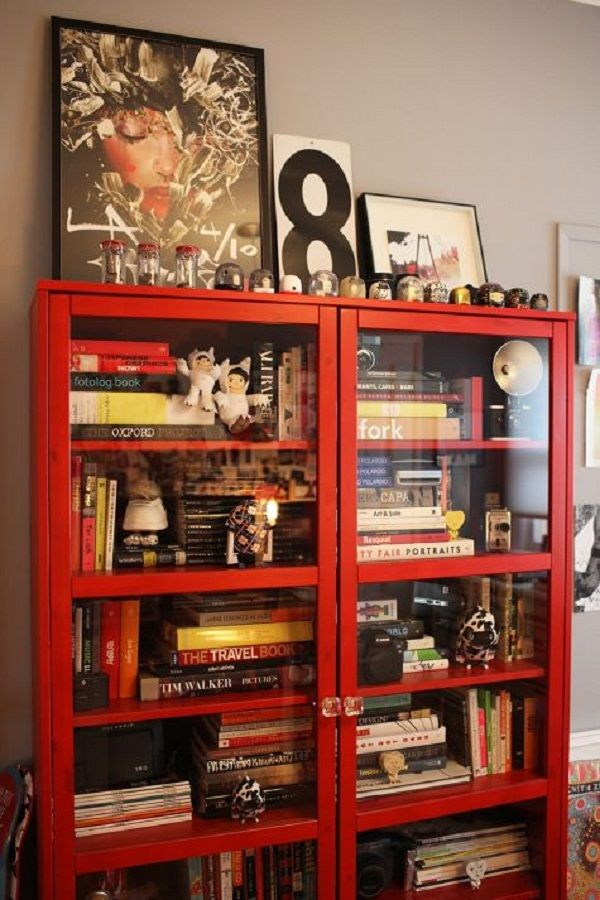 red bookcase with glass doors | Door Designs Plans