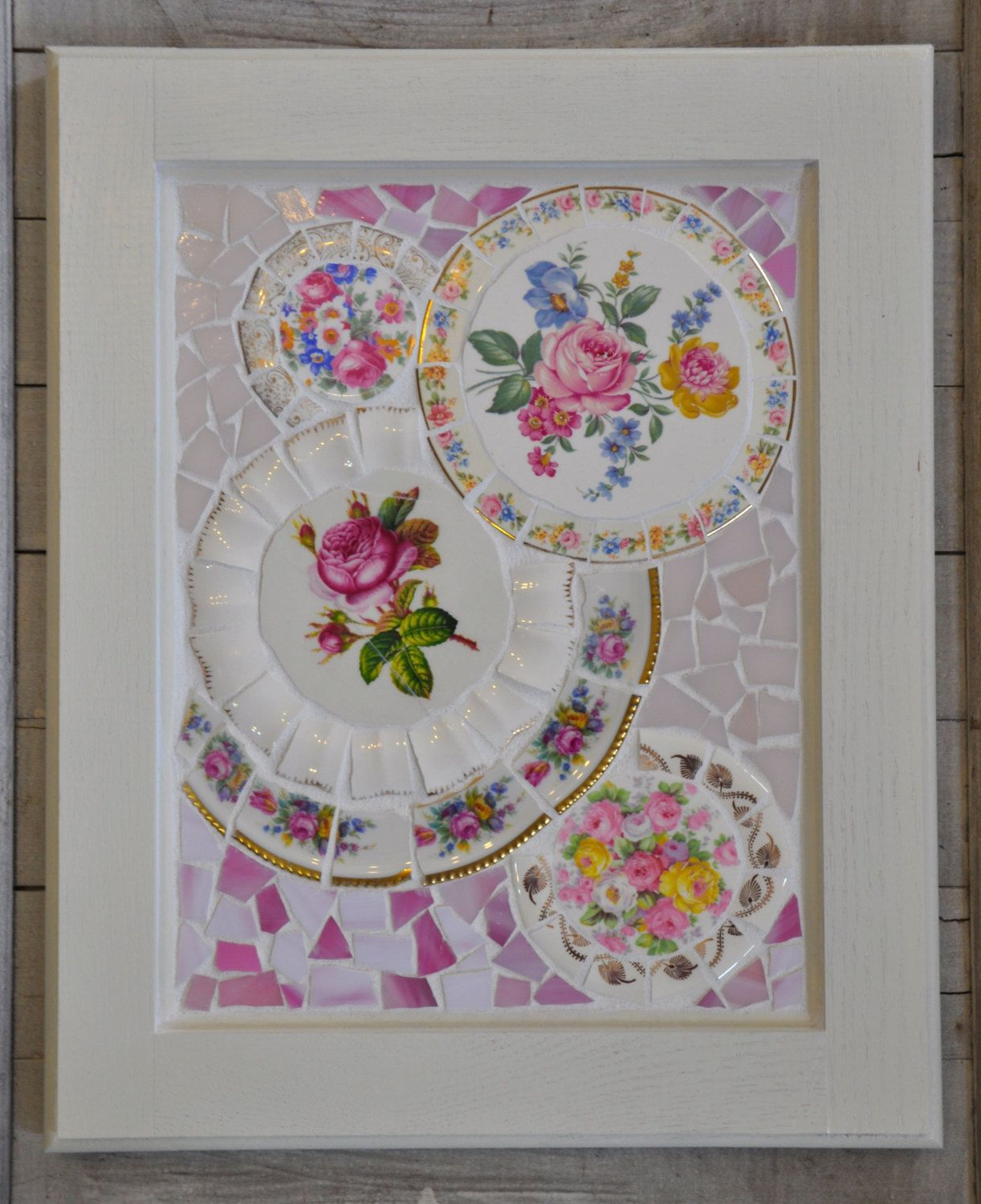 Mosaic Cabinet Door with Vintage China and by 2ndTimeAroundMosaics, $85.00