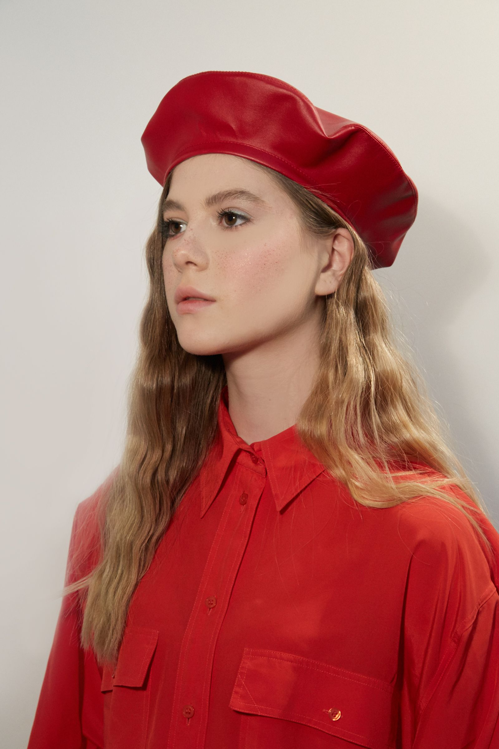 c97f9925f2b4d Red eco leather beret