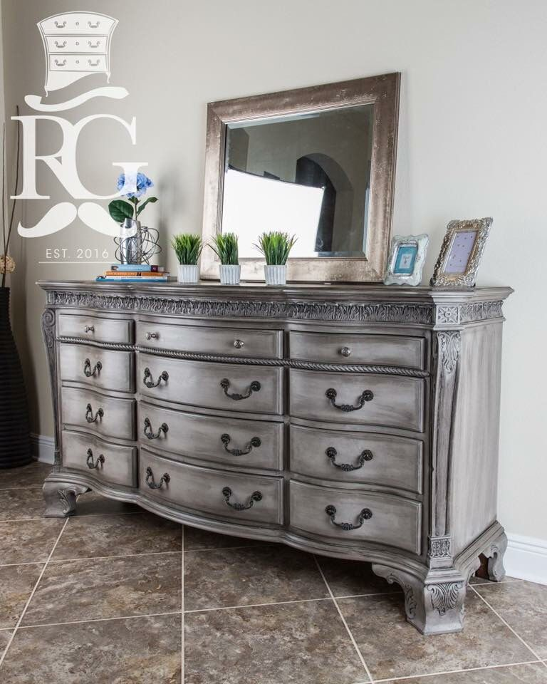 Dresser painted in annie sloan chalk paint french linen for Dark grey furniture paint