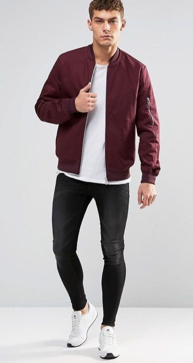 brand new 33b1d 8f0c7 Maroon bomber jacket Boring outfit, add layering to your top ...