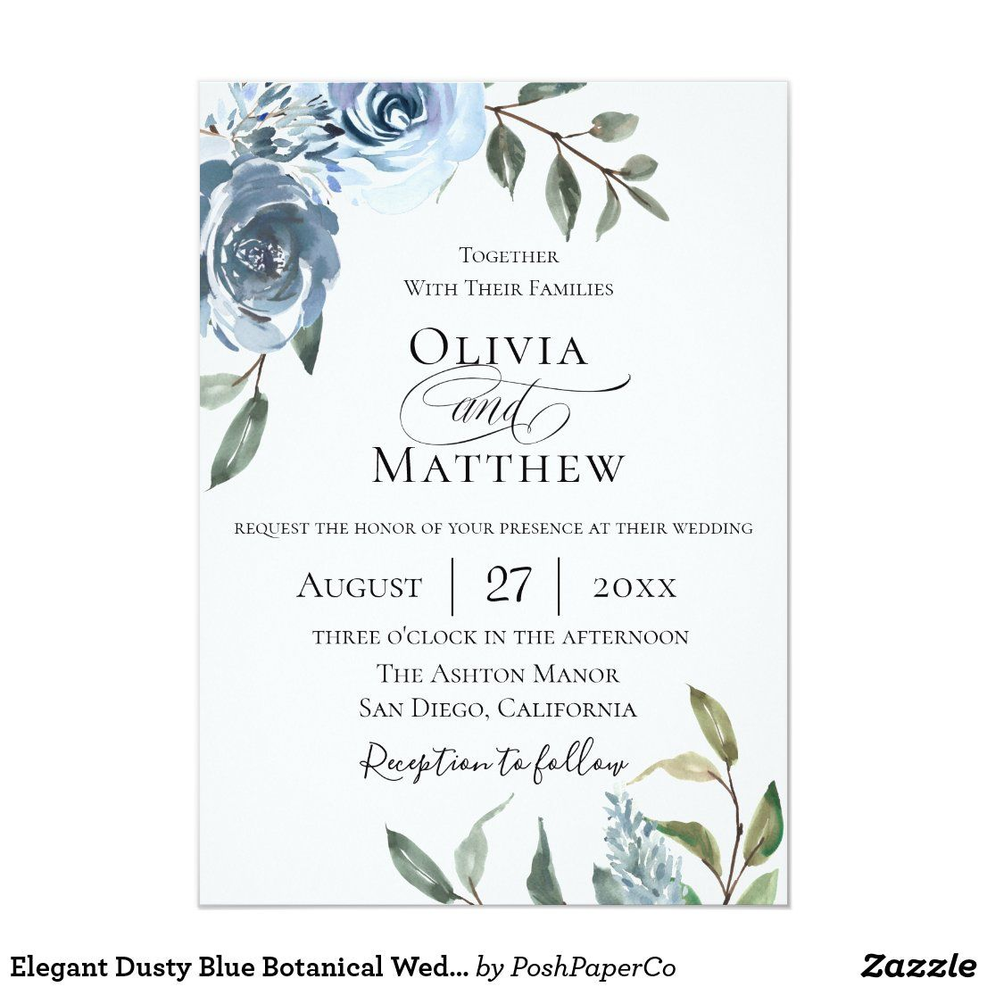 Elegant Dusty Blue Botanical Wedding Invitation Zazzle Com In 2021 Botanical Wedding Invitations Botanical Wedding Zazzle Wedding Invitations