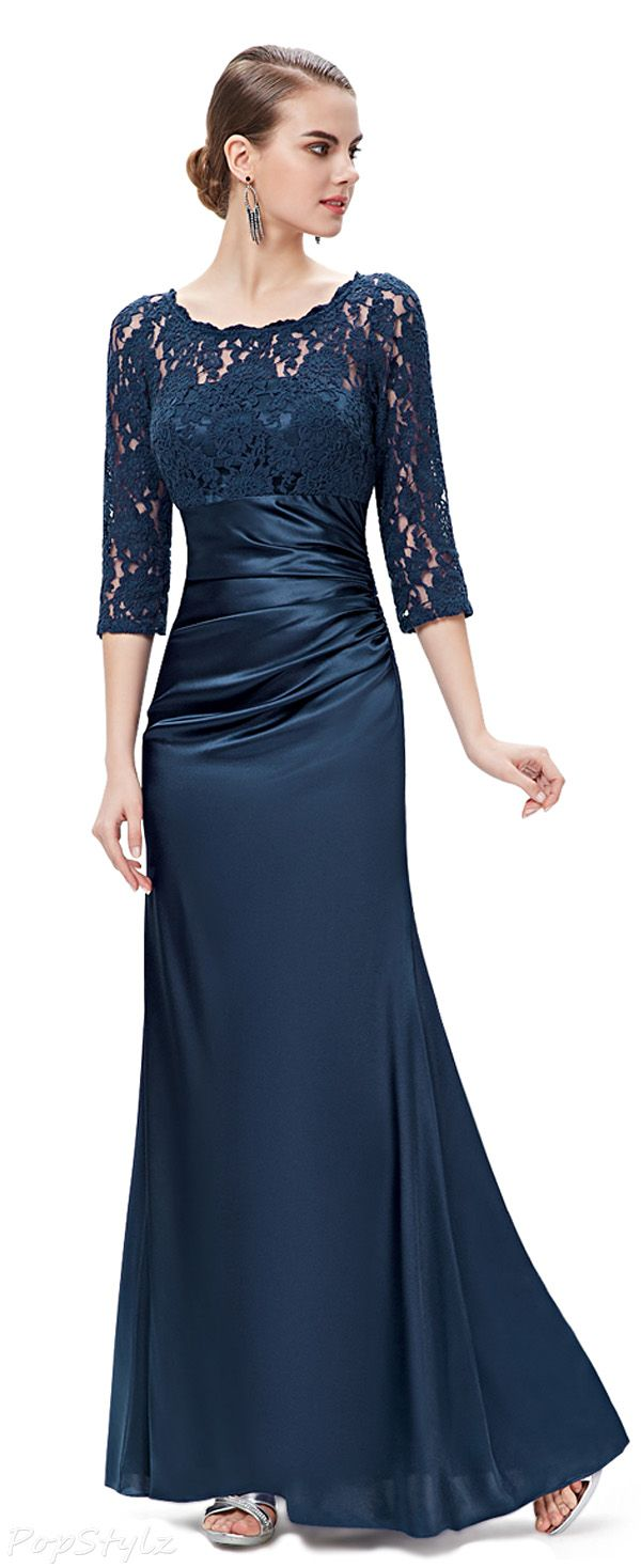Ever pretty elegant lace long sleeve formal evening dress