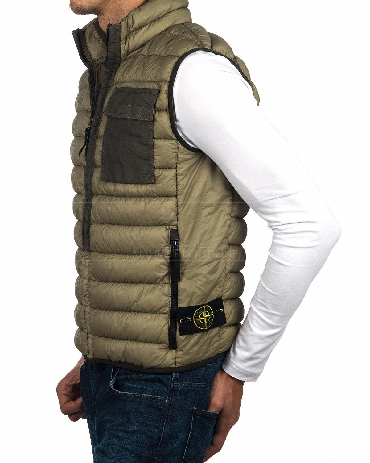 54f574cd8298 STONE ISLAND Stone Island Gilet - Garment Dyed Micro Yarn Down Packable -  Olive G0424