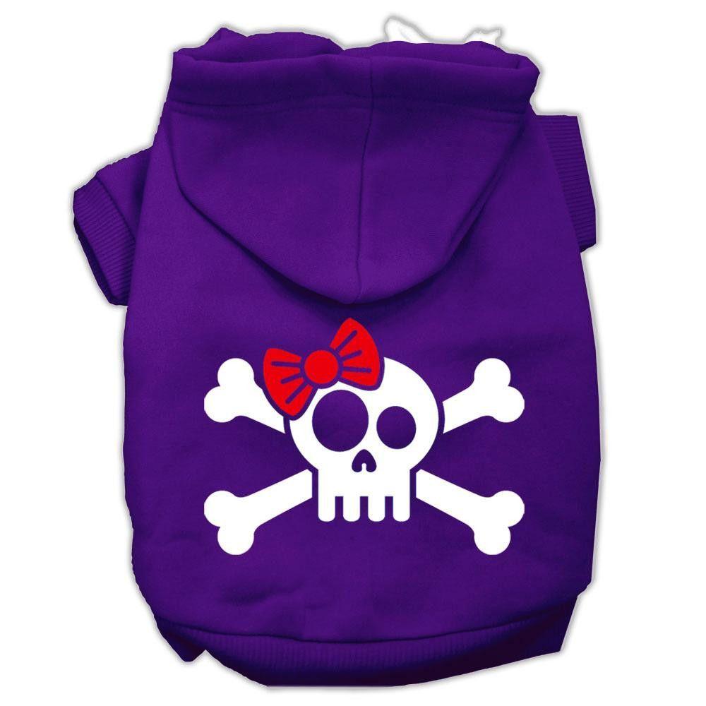Skull Crossbone Bow Screen Print Pet Hoodies Purple Size Lg (14)