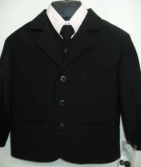 fcf527c58 A beautiful Black Suit with Pink Shirt for babies, toddlers and boys that  is fully lined. The outfit comes complete with jacket vest pink dress shirt  tie ...