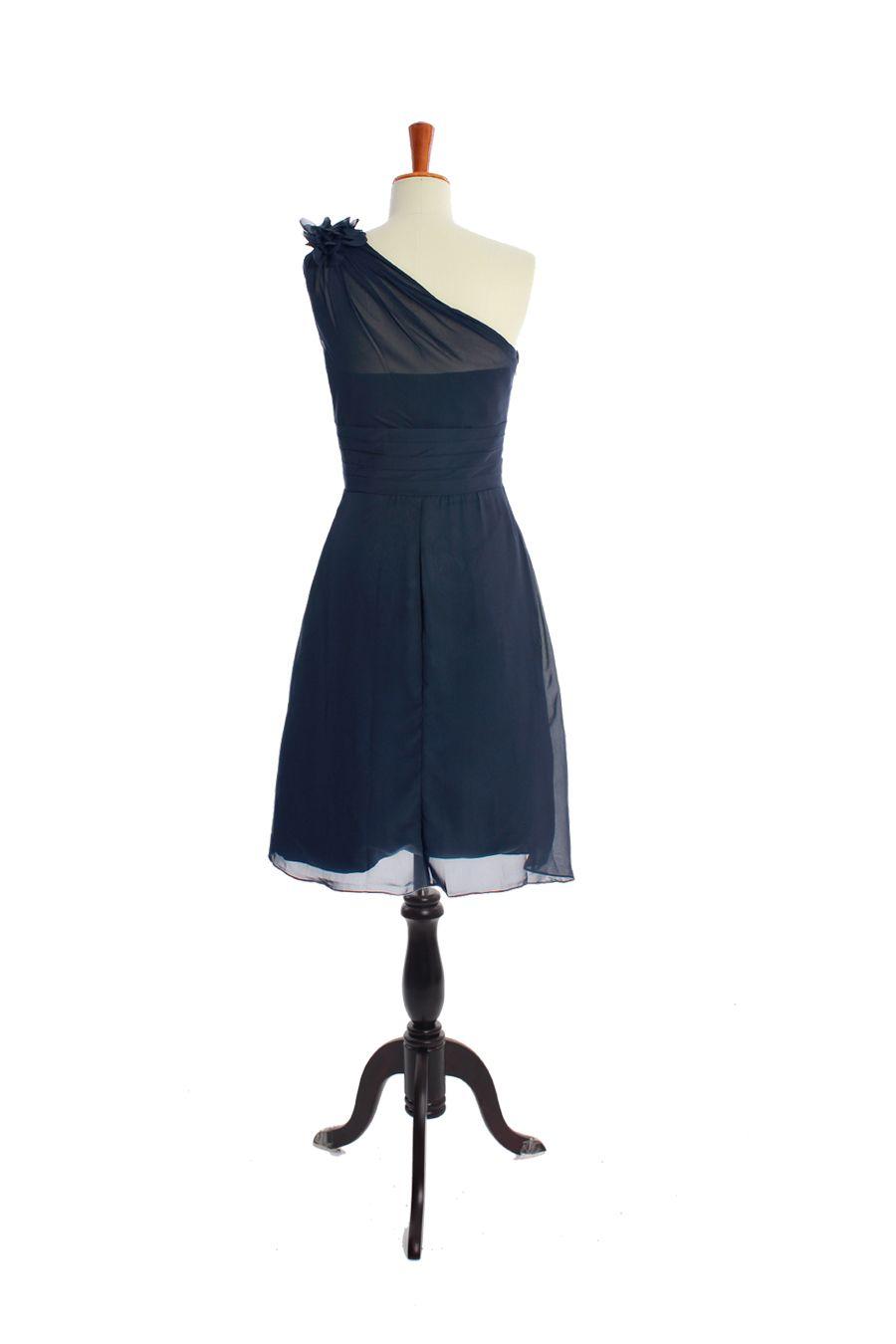One shoulder aline tealength chiffon bridesmaid dress aline