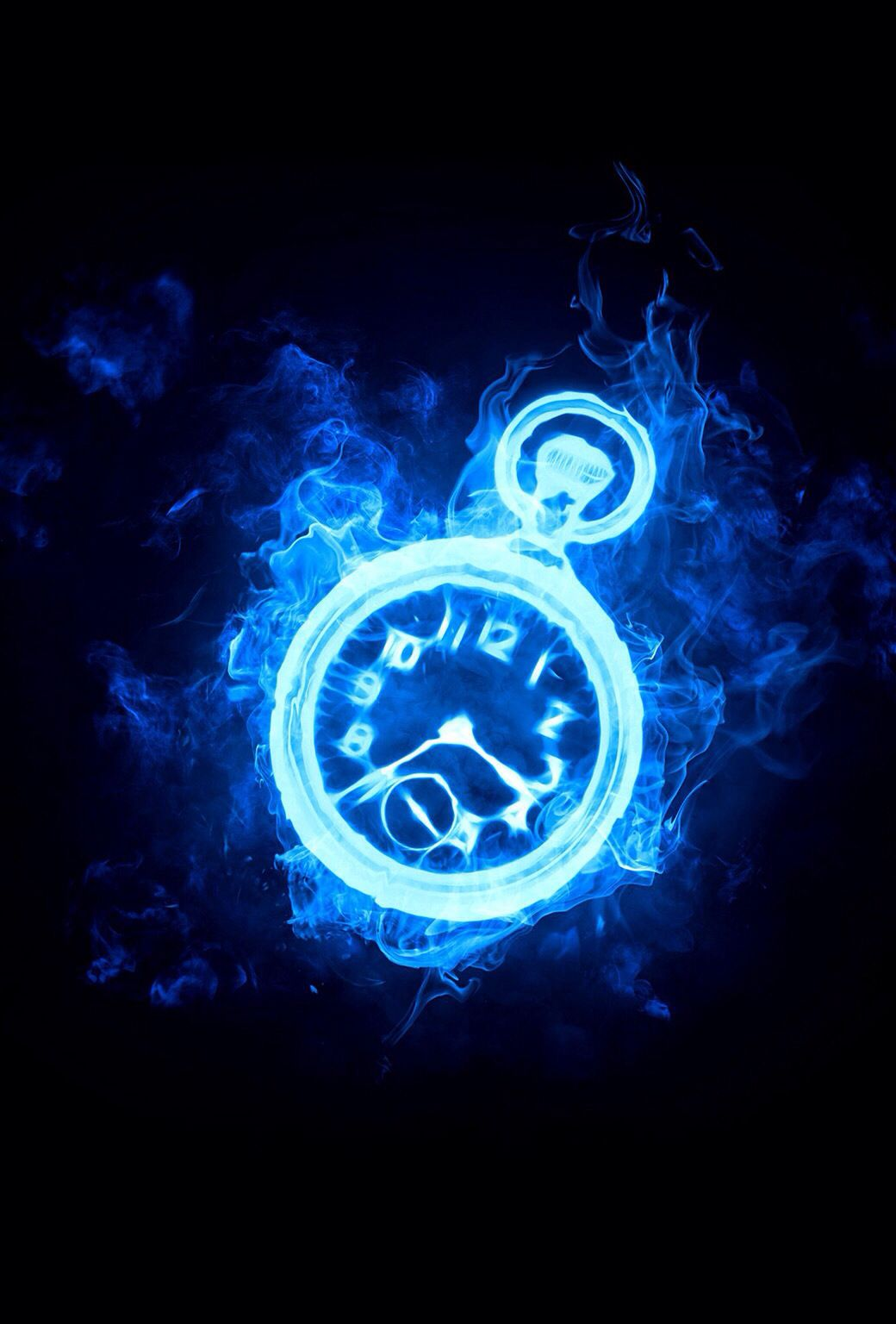 Blue fire clock cool backgrounds neon signs anime