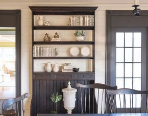 Farmhouse Dining Room Hutch Open Shelves Allow The Shiplap Wall Serve As