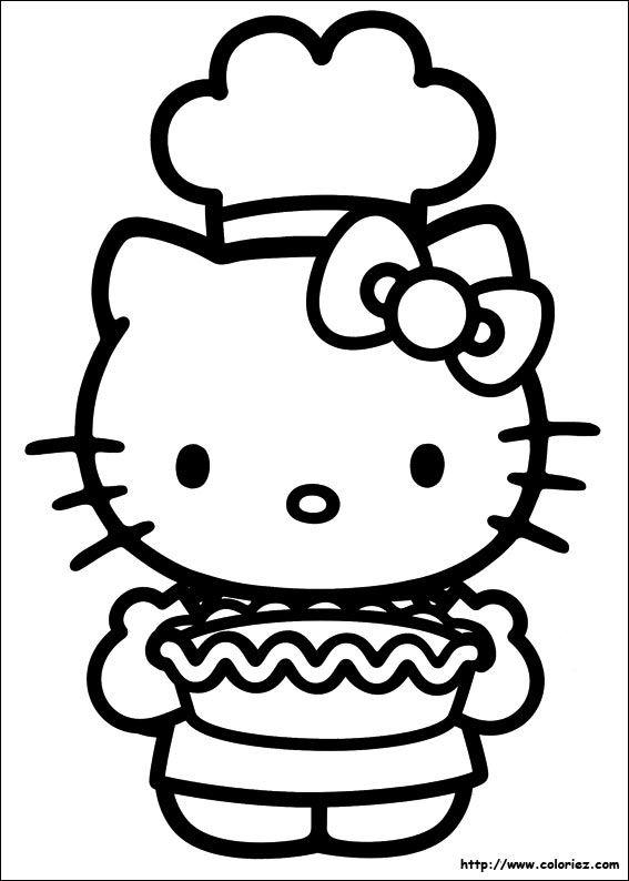 Kitty Est Un Chef Coloriage Hello Kitty Coloriage Kitty