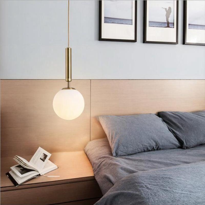 Nordic Brass Aluminum Modern Pendant Light Loft Hanging Lamps Bedside Hanging Lamp Kitchen Suspension Pendant Lamps Modern Pendant Light Bedside Pendant Lights Pendant Lighting Bedroom