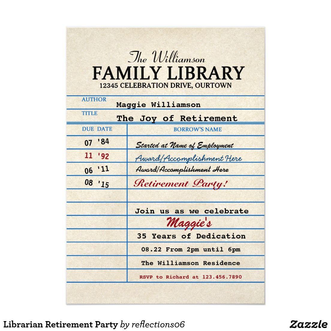 Librarian Retirement Party Invitations Zazzle Com Retirement