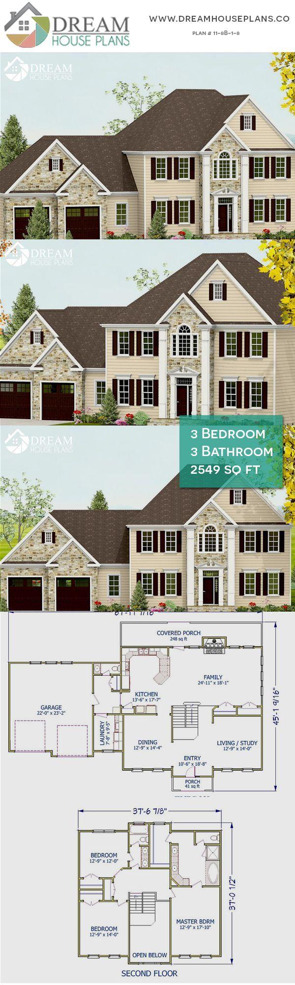 3 Bedroom 3 Bathroom 2549 Sq Ft 11 8b 1 8 Traditional House Plans 118b18 Bathroom B Traditional House Plans Porch House Plans Dream House Plans