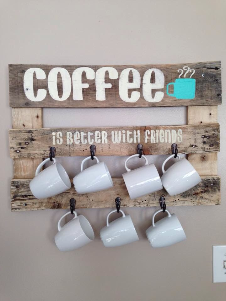Coffee Cup Holder Made From A Reused Pallet