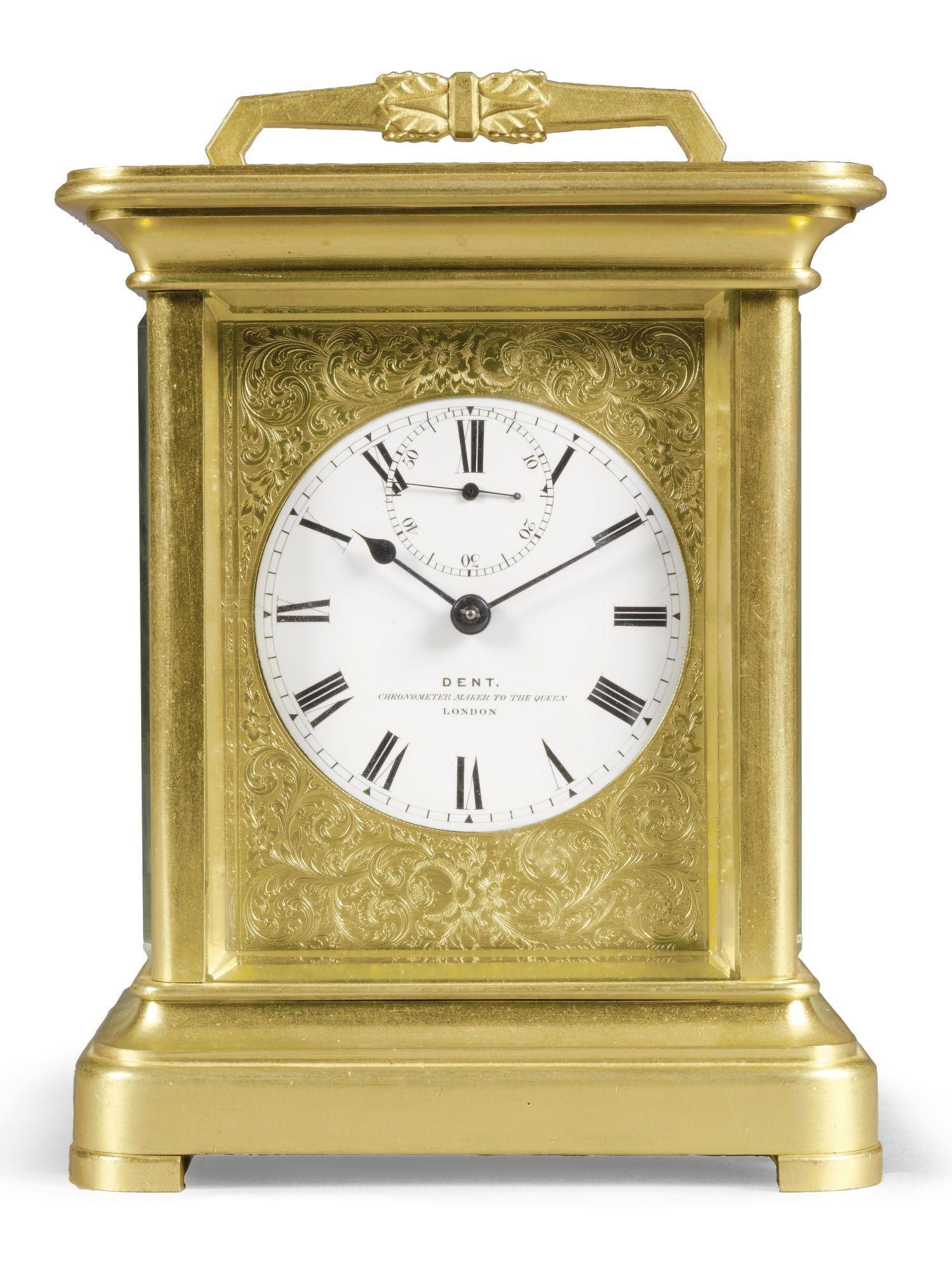 Dent No 692 A Gilt Brass Chronometer Carriage Timepiece With Staple Balance London Circa 185 Antique Wall Clocks Antique Pendulum Wall Clock Carriage Clocks