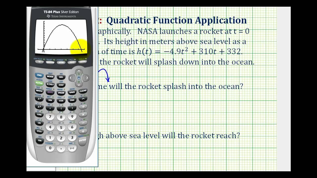 Ex quadratic function application using a graphing