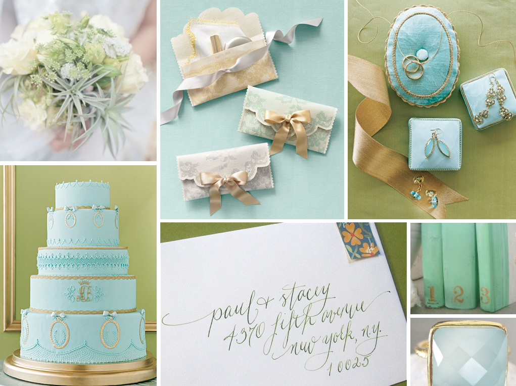 Aqua Blue Light Green And Gold Wedding