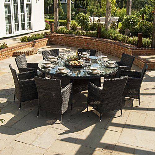zebrano  amelia 8 seat outdoor rattan dining set  15m