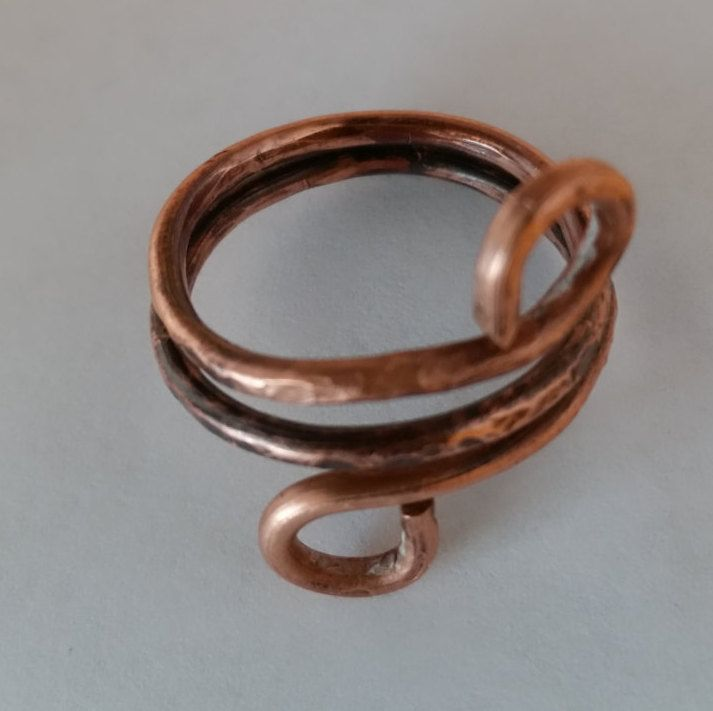 rustic spiral lightly hammered tectured twisted anneald ring size 10 FREE SHIPPING by GailsGiftHut on Etsy