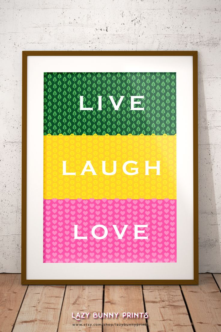 Live Laugh Love, Instant Download, Geometric Print, Home Decor, Wall ...