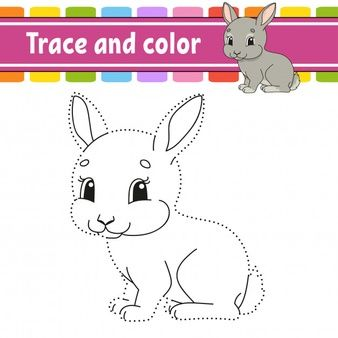 Trace And Color. Rabbit Bunny Animal. Coloring Page For Kids. Handwriting Practice.