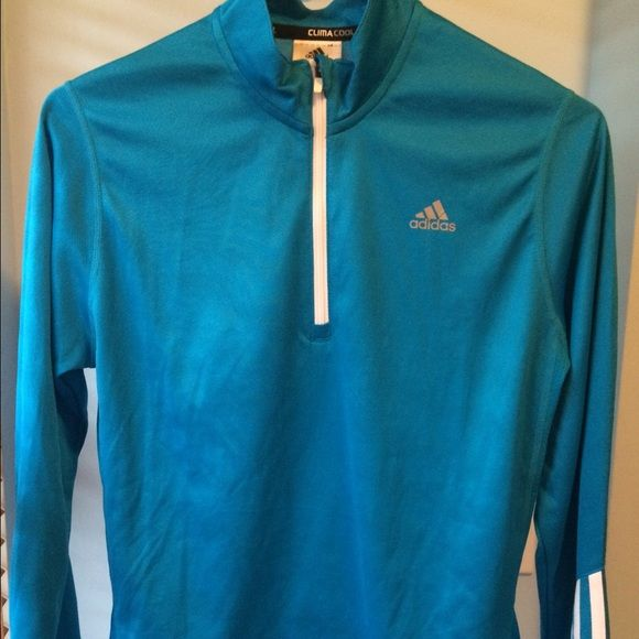 Adidas pull over 1/4 zip shirt womens Adidas women's pull on 1/4 zip climacool shirt. Beautiful blue/turquoise color  Adidas Tops