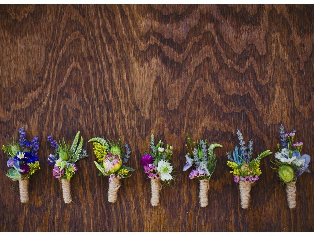 wildflower inspired twine wrap boutonnieres utah wedding ...