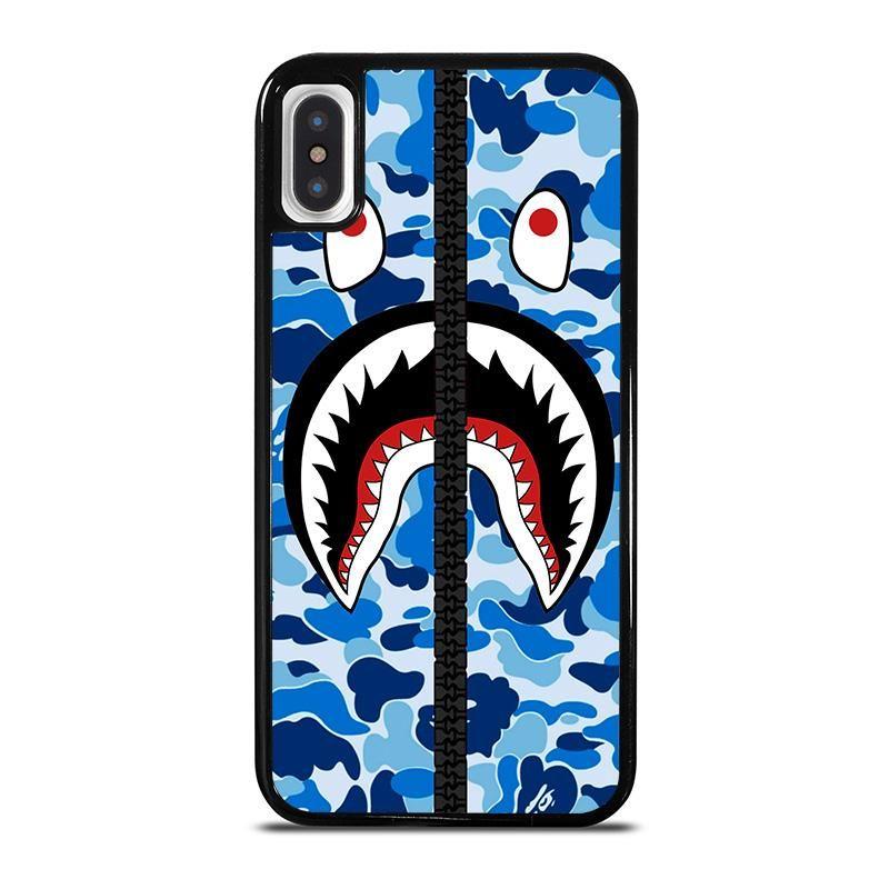 Bape shark camo blue zip iphone x xs case cover casing