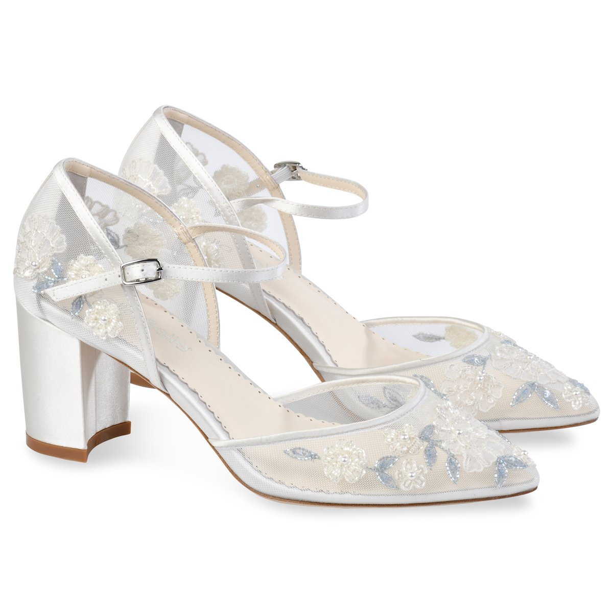 Baby blue floral lace ivory wedding block heel in 2020