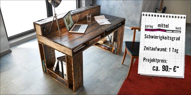 Schreibtisch selber bauen paletten  Schreibtisch   Möbel   Pinterest   Schreibtische, Schreibtisch ...