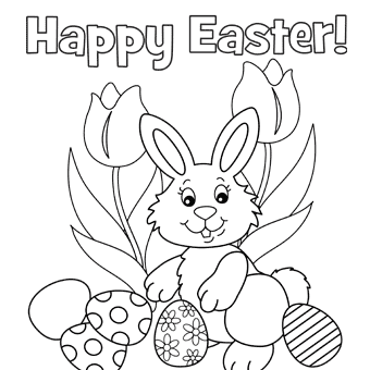 Cute Easter Bunny and Eggs coloring page | Free Printable Coloring ... | 340x340