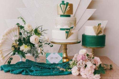 20 ideas de decoración de bodas en color esmeralda y dorado
