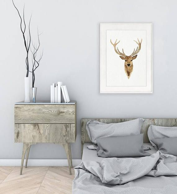 Leinwand Hirschkopf Aquarell Malerei Wohnzimmer Dekoration. Hirsch Giclée  Fine Art Print. Geweih Braun